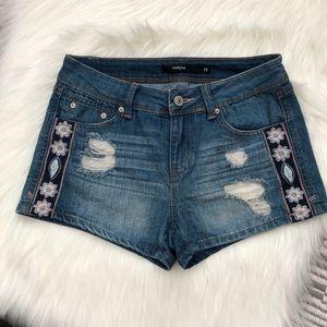 Harper Francesca Distressed Embroidered Shorts 25